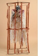 """36"""" ANIMATED HANGING SKELETON W/ROPE IN A CAGE BEIGE/BROWN"""