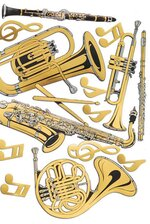 MUSICAL INSTRUMENTS CUTOUTS GOLD