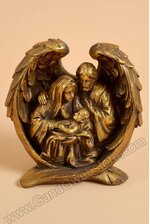"""8"""" RESIN NATIVITY ON WINGS ANTIQUE GOLD"""
