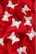 "0.5"" MINI NYLON ARTIFICIAL FABRIC BUTTERFLY WHITE PKG/12"