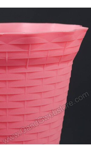 BASKET PATTERN PLASTIC POT PINK