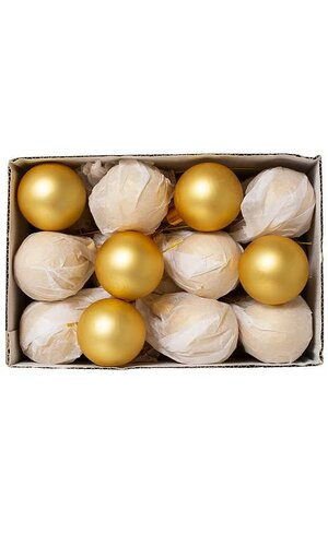 50MM MATTE GLASS BALL GOLD PKG/24