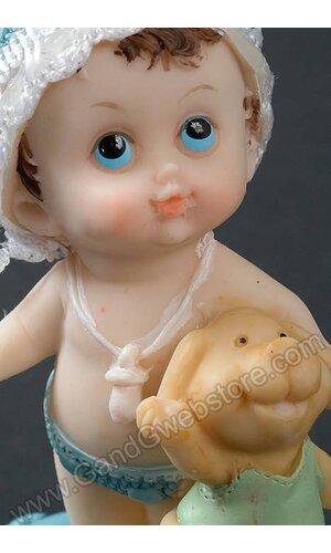 "4"" CERAMIC BABY BOY W/PUPPY BLUE"