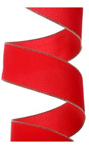 """2.5"""" X 50YDS VALUE VELVET WIRED RIBBON RED/GOLD"""