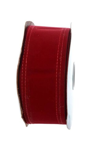 """2.5"""" X 20YDS WIRED VELVET RIBBON HOLIDAY RED"""