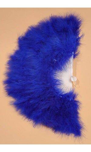 """12"""" FOLDING FAN W/FEATHER ROYAL BLUE"""