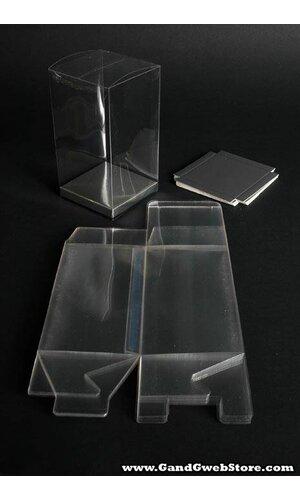 "3"" X 3"" X 5.5'' PVC BOX CLEAR W/SILVER BOTTOM PKG/12"