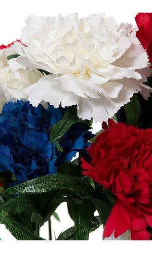 "18"" SILK CARNATION BUSH RED/WHITE & BLUE"