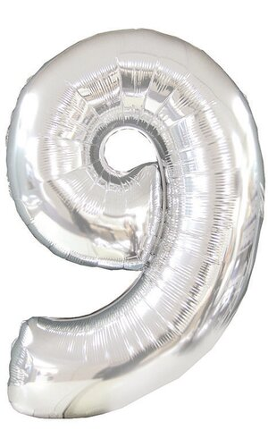 """42"""" NUMBER NINE SHAPE-A-LOON SILVER"""