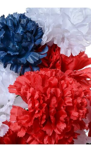"18"" SILK CARNATION BUSH MIX COLOR RED/WHITE/BLUE"