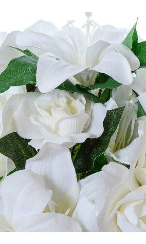 "13"" ROSE/LILY WEDDING BUSH WHITE"