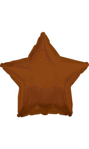 "18"" FOIL STAR BALLOON SOLID BROWN PKG/10"