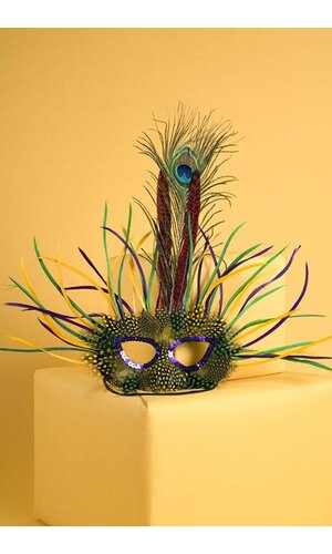FEATHER MASK RED/GREEN/PURPLE