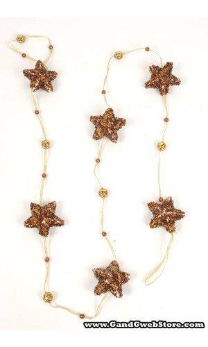 6' BEADED STAR GARLAMD BOLD/BROWN
