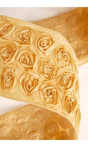 "4"" X 10YDS TAFFETA ROSE WIRE RIBBON GOLD"