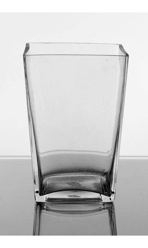 "3"" X 4"" X 6"" TAPERED SQUARE VASE CLEAR"