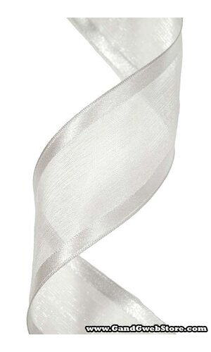 WIRED SHEER RIBBON W/SATIN EDGE SILVER #40