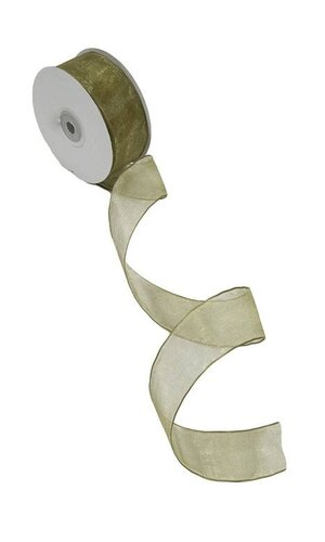 """1.5"""" X 25YDS WIRED SHEER RIBBON MOSS"""
