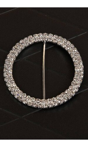 65MM ROUND RIBBON BUTTON SILVER/CRYSTAL