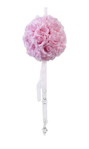 """5"""" ROSE BALL W/HANG RIBBON & BEAD PINK"""