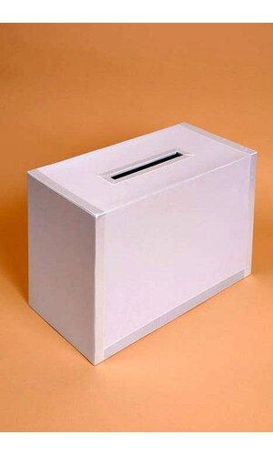 SQUARE CARD BOX W/RIBBON TRIM WHITE