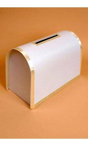 CARD BOX W/ RIBBON TRIM IVORY