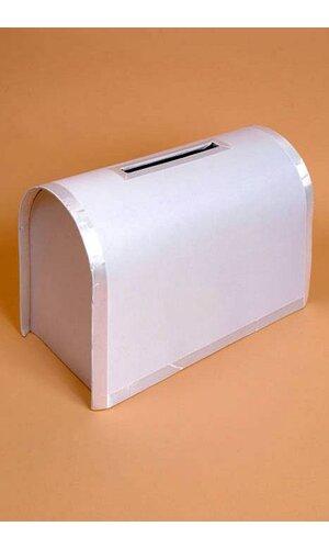 CARD BOX W/ RIBBON TRIM WHITE