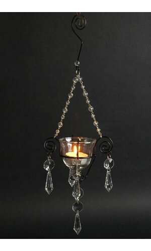 """13.5"""" CANDLE HOLDER W/BEADS CRYSTAL"""