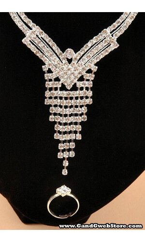 FASHION JEWELRY CRYSTAL EARRINGS, NECKLACE, BRACELET AND RING SET