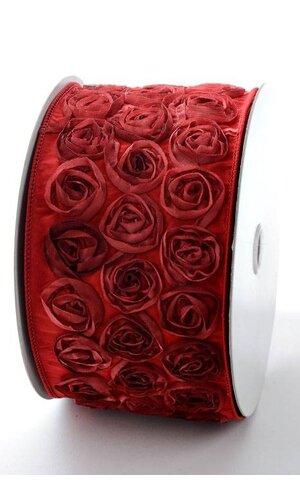 4'' X 10YDS TAFFETA ROSE WIRED RIBBON BURGUNDY