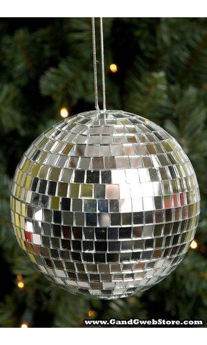 150MM MIRROR BALL HANGER SILVER