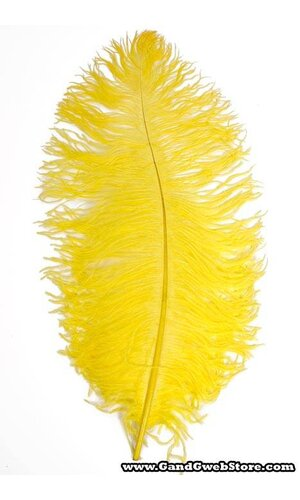 """22""""-26"""" OSTRICH FEATHER YELLOW PKG/6"""