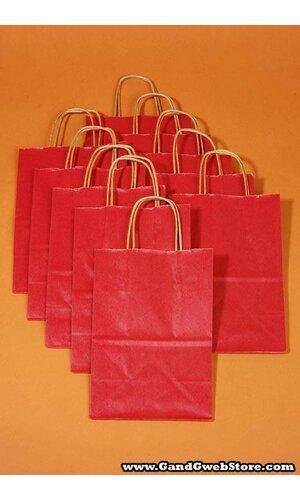 "8"" X 5"" X 10"" KRAFT SHOPPING BAG RED PKG/10"