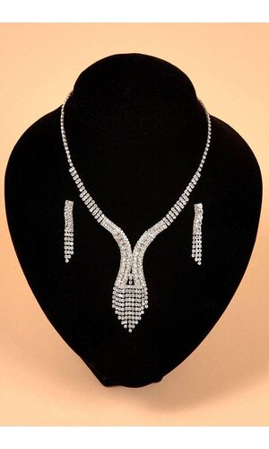 FASHION JEWELRY RHINESTONE NECKLACE AND EARRINGS SET