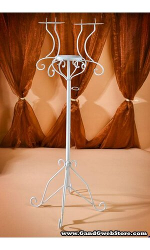 """49"""" - 60"""" ADJUSTABLE FLORAL STAND W/CANDLE HOLDERS WHITE"""