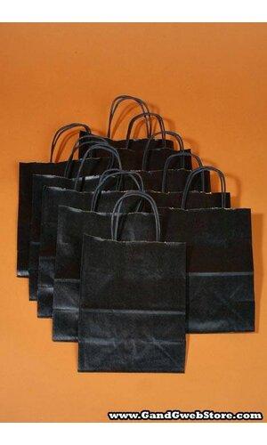 "8"" X 5"" X 10"" KRAFT SHOPPING BAG BLACK PKG/10"