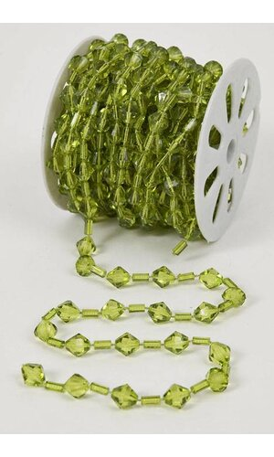 10YDS BEADED GARLAND ROLL GREEN