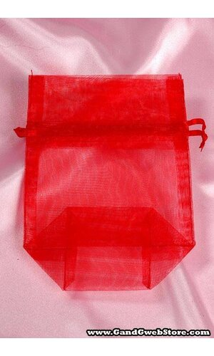 "3.25"" X 5"" X 1.5""  SHEER POUCHES BAG RED PKG/12"