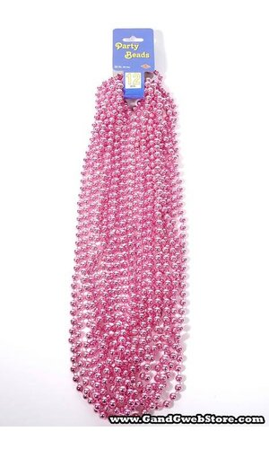 ROUND PARTY BEADS PINK PKG/12