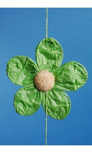 """5"""" X 60"""" PAPER FLOWERS GARLAND GREEN"""