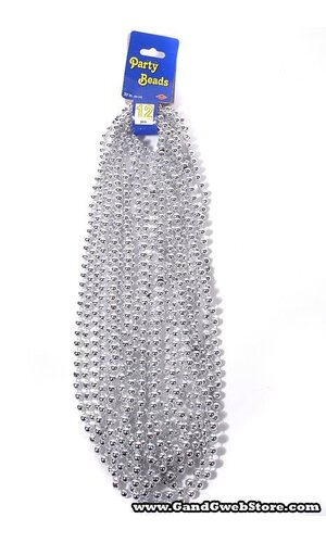 ROUND PARTY BEADS SILVER PKG/12