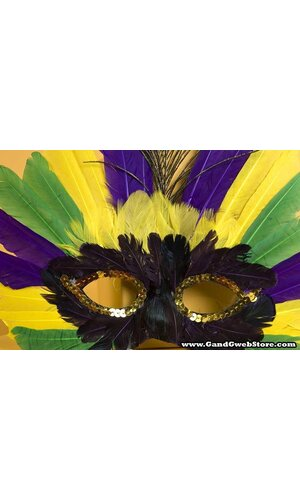 FEATHER MASK YELLOW/PURPLE/GREEN