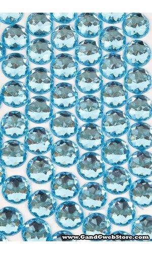 10MM ACRYLIC FLAT BACK FACETED RHINESTONE ACID BLUE PKG/120 APPROXIMATELY