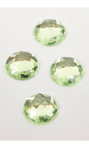 14MM ACRYLIC FLAT BACK FACETED RHINESTONE APPLE GREEN PKG/80 APPROXIMATELY