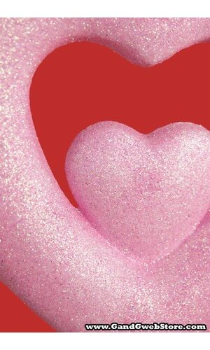 """7.5"""" GLITTER DOUBLE HEART HANGING PINK"""