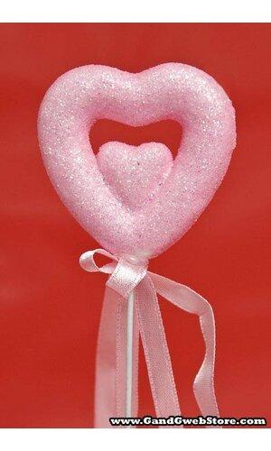 """9.5"""" DOUBLE GLITTER HEART PICK W/RIBBON PINK PKG/12"""