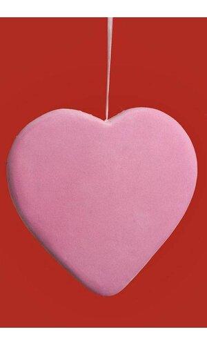 "14"" VELVET SOLID HEART HANGING PINK"