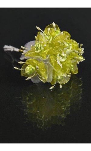 "4"" ORGANZA FLOWER APPLE GREEN PKG/12"