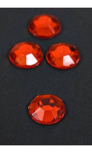 12MM ACRYLIC ROUND RHINESTONE RED PKG/96