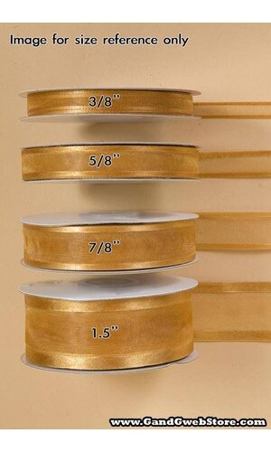 SHEER SATIN W/GOLD TRIM RIBBON - LIGHT BLUE #20